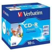VERBATIM CD-R(10-Pack)Jewel/Printable/DLP/52x/700MB