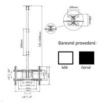 Držák Tv na strop Fiber Mounts T560 - Bílý