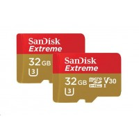 SanDisk Extreme microSDHC 32GB - Twin Pack - 100MB/s A1 C10 V30 UHS-I U3, Adapter for Action Sports Cameras