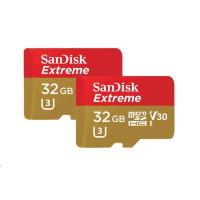 SanDisk 32GB microSDHC Card Extreme (100MB/s, A1 C10 V30 UHS-I U3, pro akční kamery) + Adapter, Twin Pack