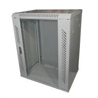 """LEXI 19"""" nástěnný rozvaděč 15U, šířka 600mm, hloubka 600mm, skleněné dveře, nosnost 60kg, svařovaná konstrukce, šedý"""