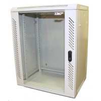 """LEXI 19"""" nástěnný rozvaděč 18U, šířka 600mm, hloubka 450mm, skleněné dveře, nosnost 60kg, dodáván rozložený, barva šedá"""