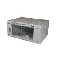 """LEXI 19"""" nástěnný rozvaděč 4U, šířka 600mm, hloubka 450mm, skleněné dveře, nosnost 60kg, dodáván rozložený, barva šedá"""