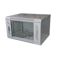 """LEXI 19"""" nástěnný rozvaděč 6U, šířka 600mm, hloubka 450mm, skleněné dveře, nosnost 60kg, dodáván rozložený, barva šedá"""
