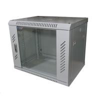 """LEXI 19"""" nástěnný rozvaděč 9U, šířka 600mm, hloubka 450mm, skleněné dveře, nosnost 60kg, dodáván rozložený, barva šedá"""