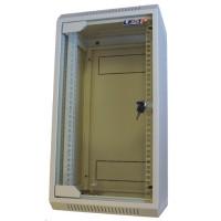 """LEXI 10"""" nástěnný rozvaděč 12U, šířka 310mm, hloubka 260mm, skleněné dveře, svařovaná konstrukce, šedý"""