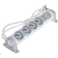 Legrand - predlžovačka s vypínačom a prepäťovou ochranou, 4 zásuvky, dĺžka káblu 1.5m, možnosť meniť orientáciu zásuviek