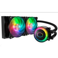 vodní chladič Cooler Master MasterLiquid ML240R RGB, 277mm x 120mm radiátor, 2 x 120mm RGB ventilátory, Univ. socket