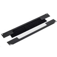 """TRITON 19"""" průchozí panel 2U rozdělený horizontálně, kartáč, otvor 330 x 55 mm, černý"""