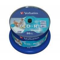 VERBATIM CD-R(50-Pack)Spindle/Inkjet Printable/52x/700MB / Non ID Branded
