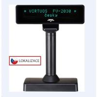 Virtuos VFD zákaznický displej Virtuos FV-2030B 2x20 9mm, serial, černý