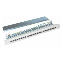 "Patch panel 19"" 24port Cat6, S/FTP, vyvaz.lišta, šedá"