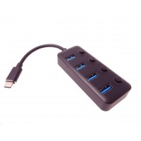 PREMIUMCORD 5G SuperSpeed USB Hub Type C na 4x USB 3.1 A Gen1, vypínače portů