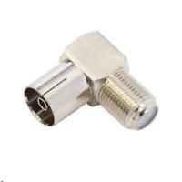 Konektor F Spojka zdířka - IEC zdířka úhlová, pro koaxiální kabel, 10ks