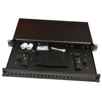 Optická vana výsuvná 1U, 24xSC spojek (24x LC Duplex, 24x E2000), včetně kazety na 24 svarů, černá