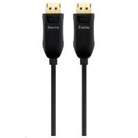 PREMIUMCORD Optický DisplayPort 1.3/1.4 přípojný kabel M/M, zlacené konekt. 30m