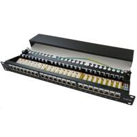 """19"""" Patch panel XtendLan 24port, STP, Cat6, krone, černý - LED vyhledávání"""