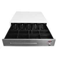 Virtuos pokladničná zásuvka C430B-RJ10P10C, 12V / 24V, bez kábla, kovové držiaky bankoviek, nerez. panel, biela