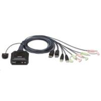 ATEN 2-port DisplayPort KVM s kabelovým přepínačem, audio