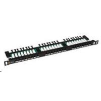 Solarix Patch panel 24xRJ45 CAT5E UTP s vyvazovací lištou černý 0,5U