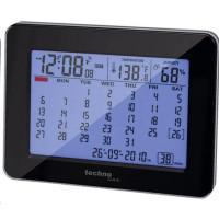CONRAD Stolní kalendář s DCF hodinami Techno Line, 190 x 120 x 57 mm, černá