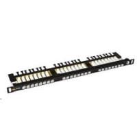 Solarix Patch panel 24xRJ45 CAT6 UTP s vyvazovací lištou černý 0,5U