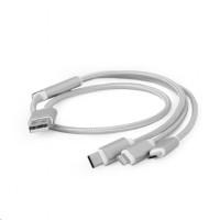 GEMBIRD Kabel CABLEXPERT USB A Male/Micro B + Type-C + Lightning, 1m, opletený, stříbrný, blister