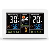 Solight meteostanice, extra velký barevný LCD, teplota, vlhkost, tlak, RCC, USB nabíjení, bílá
