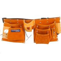 Extol Premium (420) pás na nářadí kožený, 9 kapes (2 velké, 3 střední, 4 malé), držák na kladivo, poutko na klíče, kapsa