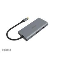 AKASA adaptér USB Type-C 9-in-1 Dock (PD Type-C, HDMI, VGA, 3 x USB 3.0 Type-A, RJ45, SD and Micro SD Card Reader)