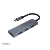 AKASA Hub USB-C 4x USB 3.0 port, Aluminium