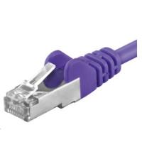 PREMIUMCORD Patch kabel CAT6a S-FTP, RJ45-RJ45, AWG 26/7 0,25m fialová