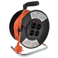 Solight prodlužovací přívod na bubnu, 4 zásuvky, oranžový, 25m