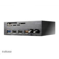 """AKASA čtečka karet AK-HC-08BK InterConnect EF do 5.25"""", 5-slotová, 1x USB 3.0, 1xUSB 2.0, 1x nabíjecí USB, hliník, černá"""