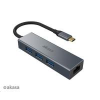 AKASA adaptér USB Type-C 4-In-1 Hub with Ethernet