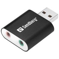 Sandberg externí zvuková karta USB-A -> 2x 3,5 mm jack