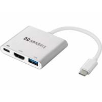 Sandberg mini HUB USB-C -> HDMI + USB, stříbrná