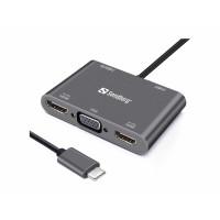 Sandberg mini HUB USB-C -> 2x HDMI + 1x VGA + USB + PD