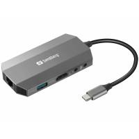 Sandberg mini HUB USB-C, 6v1, HDMI + SD + USB + 3,5 mm jack + RJ45 + USB-C