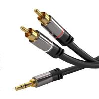 PREMIUMCORD kabel, Jack 3.5mm-2xCINCH M/M 3m