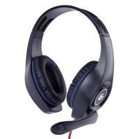 GEMBIRD sluchátka s mikrofonem GHS-05-B, gaming, černo-modrá, 1x 4-pólový 3,5mm jack