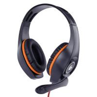 GEMBIRD sluchátka s mikrofonem GHS-05-O, gaming, černo-oranžová, 1x 4-pólový 3,5mm jack