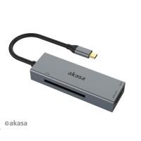 AKASA čtečka karet AK-CR-09BK 3-in-1 (CF, SD, microSD), externí, USB 3.2 Type-C