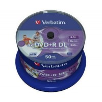 VERBATIM DVD+R(50-pack)DoubleLayer/Spindle/8X/8.5GB/Printable/NoID