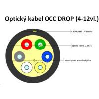 Optický kabel DROP FTTx, univerzál. 12x 9/125, singlemode, G.657A, balení 1km cívka, LSOH, šedá