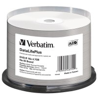 VERBATIM DVD-R(50-Pack)/Spindle/16X/4.7GB/DataLife Plus Wide Thermal Professional  No ID Brand