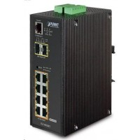 Planet IGS-10020PT PoE switch 8x 1000Base-T, 2x SFP, 802.3af 130W, IP30, -40 až 75°C, SNMP, IGMPv3, IPv6