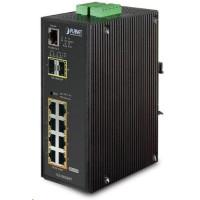 Planet IGS-10020HPT PoE switch 8x 1000Base-T, 2x SFP, 802.3at 270W, IP30, -40 až 75°C, SNMP, IGMPv3, IPv6
