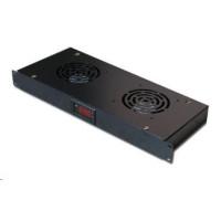 """19"""" ventilační jednotka, 2 ventilátory, LCD display, termostat, hloubka 200mm, černá"""