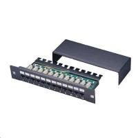 "10"" Patch panel 1U/12port Cat5e, STP, LSA, zeměný, černý"